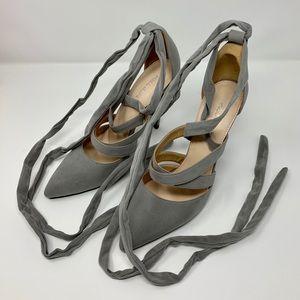 NWT Public Desire wrap-around suede heels